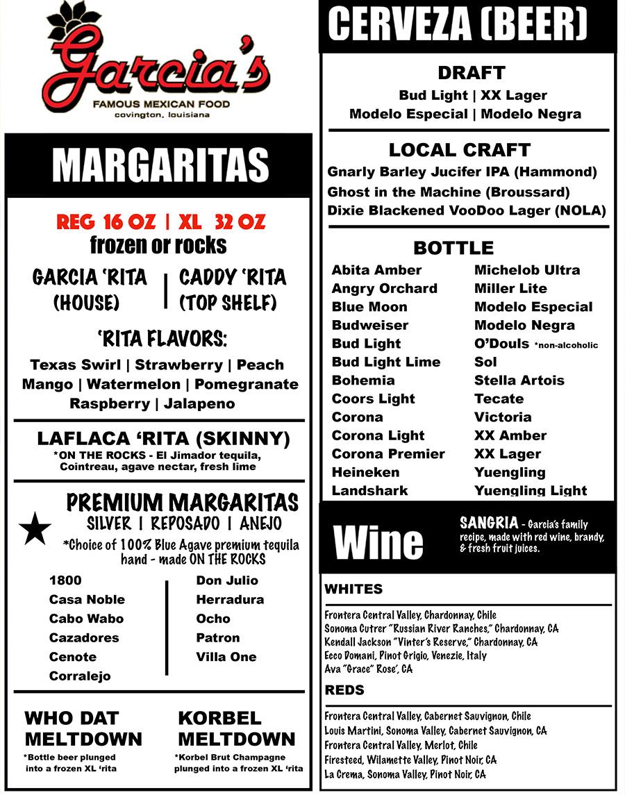 Garcia 39 s famous mexican food covington la for Bar food la menu